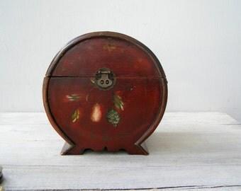 Painted Wood Box, Treasure Case Box, Retro Rustic Storage, Desk Organizer, Vanity Table Floral Decor, Wood Box Centerpiece, Folk Art Big Box