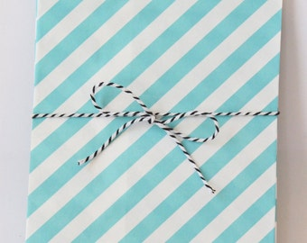 Blue Turquoise Stripe Party Favor Bags Blue Goodie Bags Blue Party Supplies Boys Birthday Party Treat Bags Baby Shower Favor Bag / Set of 12