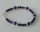 Purple Amethyst and sterling silver bracelet for ladies