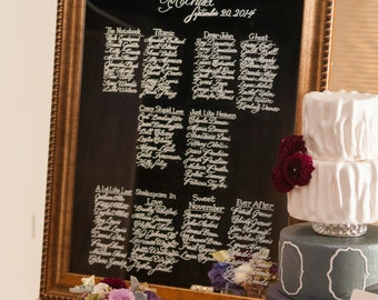 Mirror Seating Chart - Calligraphy Writing on a Mirror - RESERVED