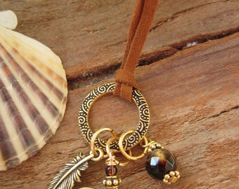 Gold Charm Necklace with Wire Wrapped Heart Stone, Topaz Gemstone and Feather Charm