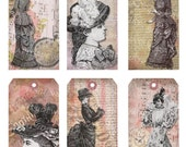 Distressed Victorian Women Tags Digital Collage Sheet Vintage Dress Intstant Download Printable Shabby Chic Images DC-010