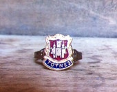 Totnes -  Vintage Enamel Souvenir Shield Charm Adjustable Rings
