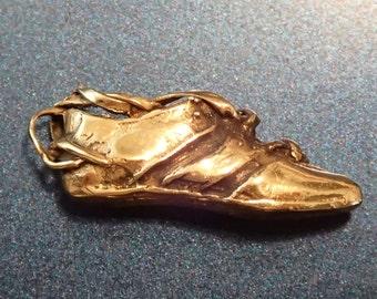 14K Gold Running Shoe Pendant