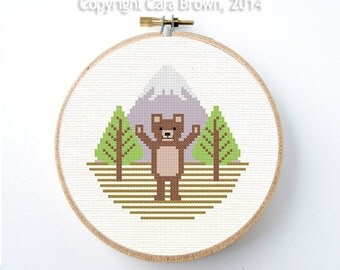 Bear Cross Stitch Pattern Instant Download Grizzly Cub modern needlepoint cute brown teddy bear