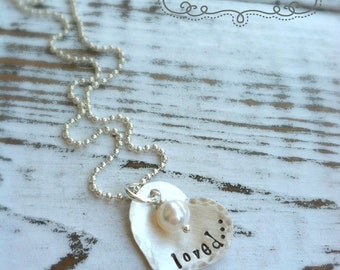 LOVED Heart Necklace . Girlfriend . Stamped Jewelry . Custom Necklace . Heart Necklace . Love Necklace . Valentines Jewelry . Love Jewelry
