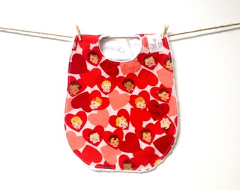 Retro Girl Bib, One of a Kind, Michael Miller, I'm a Girl, Red, Pink, Hearts, Soft, Minky