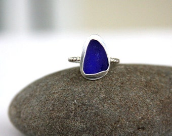 Sea glass ring, sterling silver sea glass ring, ring, bezel set, sea glass, cobalt, cobalt sea glass, sea glass jewelry, beach jewelry