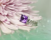 Amethyst Ring Princess Cut Matching Band Sterling Silver