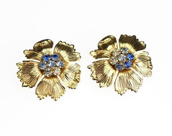 Gold Flower Scatter Pins Blue Clear Crystals Rhinestone Vintage Pair