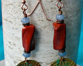 Hand Painted Copper Medallion Earrings with Celtic Design, Red Jasper and Angelite