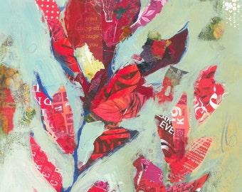 Red Flowers Lobelia Original Painting