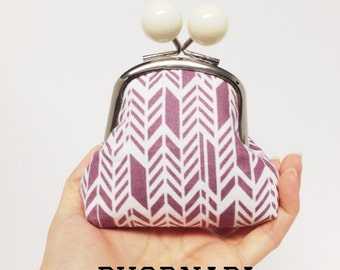 Big Bobble Coin Pouch Dusty Purple Feather Ready to Ship