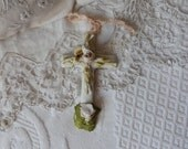 Antique French bisque cross crucifix w porcelain roses w ribbon bow, religious antiques cemetary cross, devotional art shabby chic decor