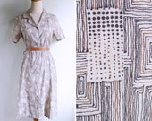 Vintage 80's Graphic Doodles Dots & Lines Silky Day Dress S or M