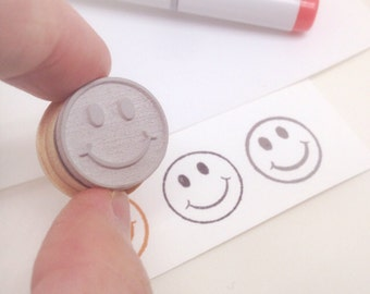 "Happy Face Stamp Small 3/4"" rubber stamp"