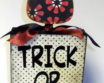Trick or Treat Halloween Decor Wood Block Candy Corn