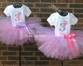 Twin Girls Diva Princess Birthday Crown Tutu Outfits in Pink and Lilac, Twin Girls Birthday Tutu Set, First Birthday Twin Girl Tutu Set