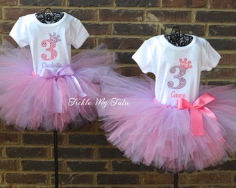 Twin Girls Birthday Crown Tutu Outfits in Pink and Lilac, Twin Girls Birthday Tutu Sets, First Birthday Twin Girl Princess Tutu Sets