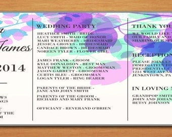 Spring Branches Wedding Program PRINTABLE / DIY