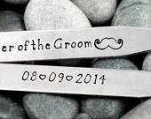Personalized Collar Stays - Set of 2 - Father of the Groom - Mustache - Wedding Party Gift