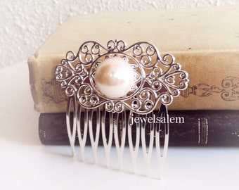 Pearl Hair Comb Wedding Bridal Hair Accessory Silver Antique Brass Vintage Style Something Old White Ivory Cream
