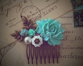 Bridal Hair Comb Blue Wedding Turquoise Floral Head Piece Leaf Flowers Aqua Teal Shabby Chic Romantic Bohemian Vintage Style Woodland WR