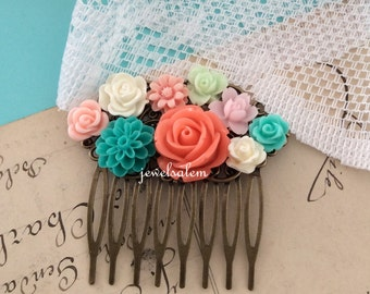 Coral Wedding Hair Comb Turquoise Teal Aqua Peach Pink Mint Hair Accessories Bridal Floral Head Piece Flower Collage Romantic Modern Boho