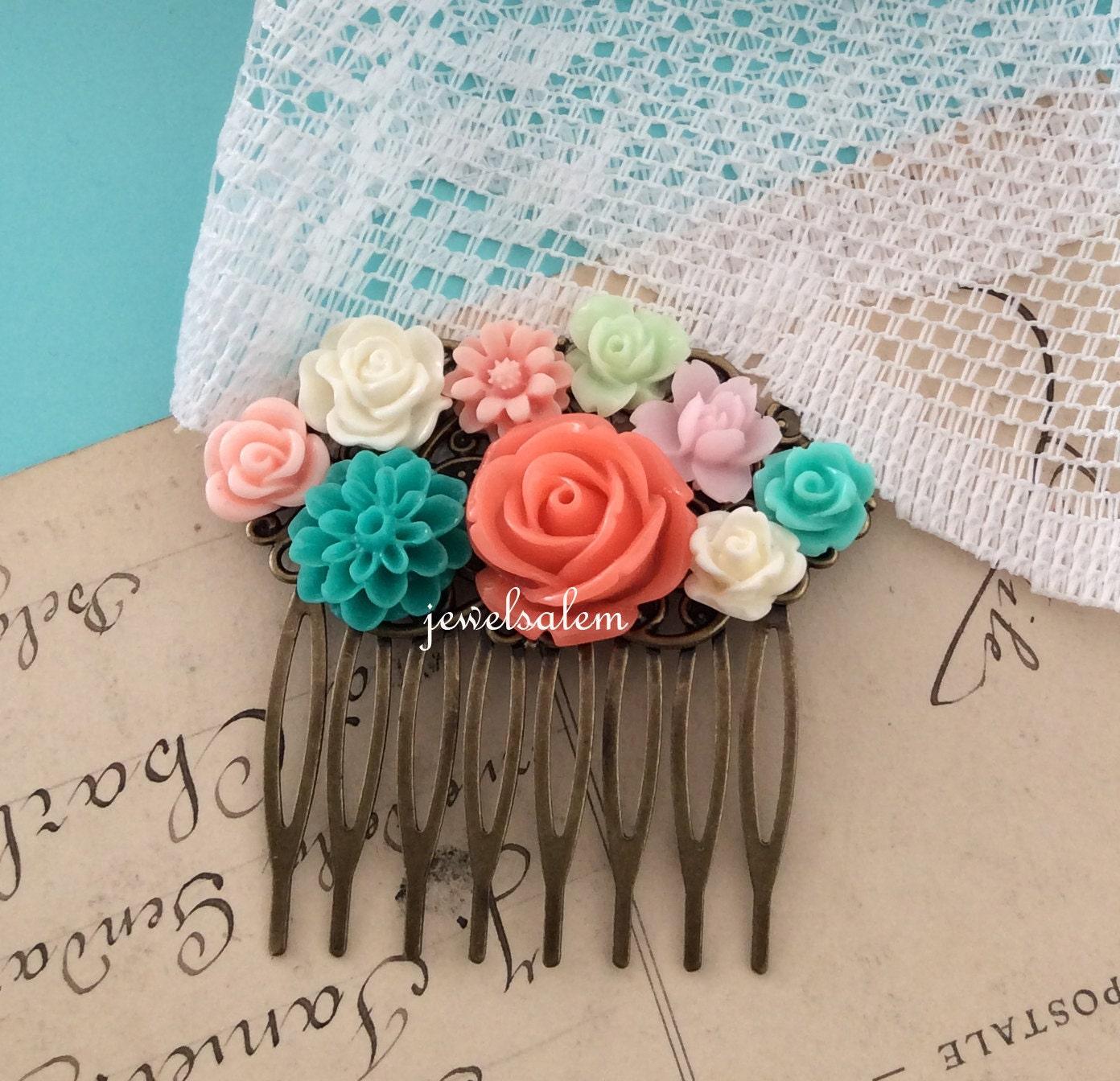 Coral Wedding Hair Comb Turquoise Teal Aqua Peach Pink Mint