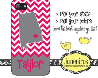 Personalized iPhone 6, iPhone 5/5s and iPhone 4/4s Cell Phone Case - Personalized State Alabama in Hot Pink and Gray
