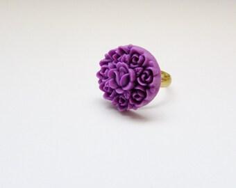 Purple Flower Cluster Ring