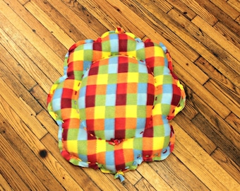 Dog Bed XSmall Small Summer Colors Plaid Fleece