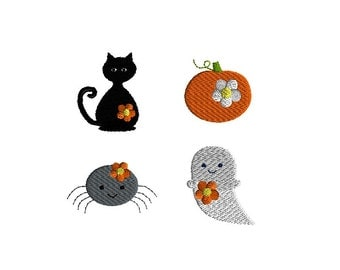 Mini Halloween Cat, Ghost, Pumpkin and Spider with Flowers Machine Embroidery Designs-INSTANT DOWNLOAD