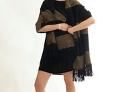 Blanket scarf, Poncho Pashmina shawl Camel Black, Boho layer wrap, Striped Handwoven scarf with merino wool yarns by Texturable