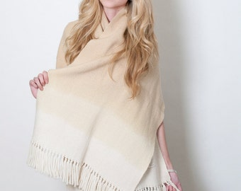 Organic handwoven scarf Plant dyed, Botanical Wool wrap, Zen Yoga Poncho shawl Ombre, Neutral Beige Meditation Floral Marcela plant