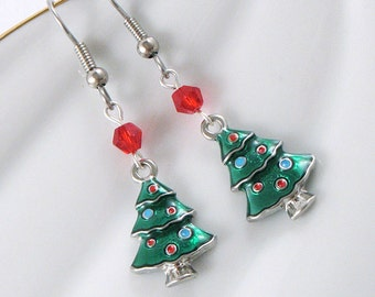 Green Enamel Christmas Tree Earrings - Red Crystals - Holiday - Gifts Under 15
