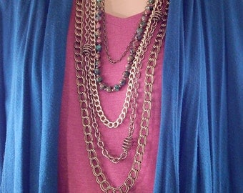 Antique Gold Multi-Chain Necklace - Chocolate Brown Chain - Mardi Gras Beads - Statement Necklace - Gifts under 50