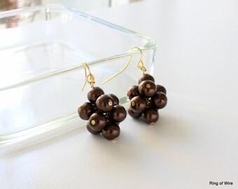 Brown Pearl Earrings, Cluster Earrings, Brown Bead Earrings, Pearl Cluster Earrings, Chocolate Brown Earrings, Chocolate Cluster Earrings
