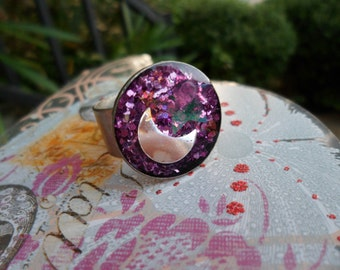 Celestial Daydreams - Resin and Glitter Adjustable Ring
