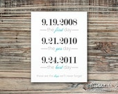 Personalized Dates Print, Wedding Wall Decor, Important Dates Valentine's Day Gift by MJDandSupply