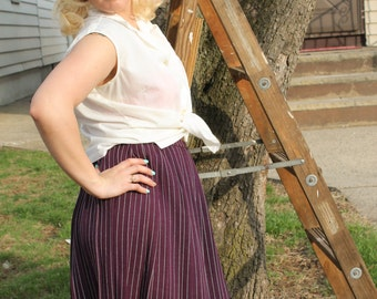 1960s Pleated Purple and Blue Striped Skirt- Caprisians by Smatee