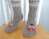 Unisex Knitted Socks / Slippers in Gray - Hand Knitted Women Men Winter Home Socks / Slippers - Figurine Knit Socks