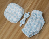 Baby Boys Clothes, Outfit for First Birthday Party, Ringbearer Outfit, Cake Smash Clothing, Baby Boy Photo Prop, Baby Blue and White Argyle