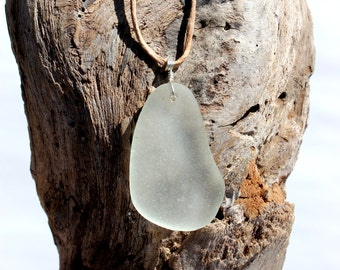 Hawaiian Clear Large Beach Glass Wire Wrapped in 925 Sterling Silver on India Leather Necklace
