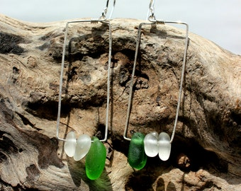 Hawaiian Emerald Green Beach Glass & Clear Beach Glass on Hammered 925 Sterling Silver Rectangular Geometric Wire Small Hoop Earrings