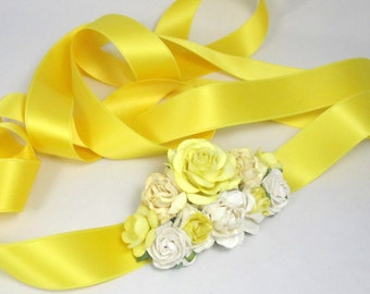 Yellow Corsage Wedding Sash Prom Brooch with flowers belt bridal bridesmaid