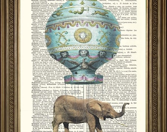 "FLYING BALLOON ELEPHANT: Original Antique Dictionary Book Page, Vintage Art Print (8 x 10"")"