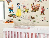 PEEL and STICK Removable Vinyl Wall Sticker Mural Decal Art - Snow White and the Seven Dwarfs