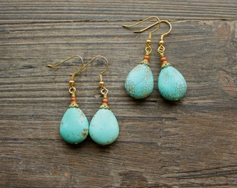 Turquoise Teardrop Earrings with Gold Accents