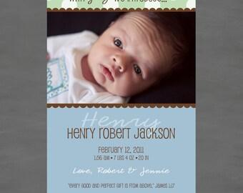 Baby Boy Photo Birth or Adoption Announcement; Blue, Green & Brown Polka Dots